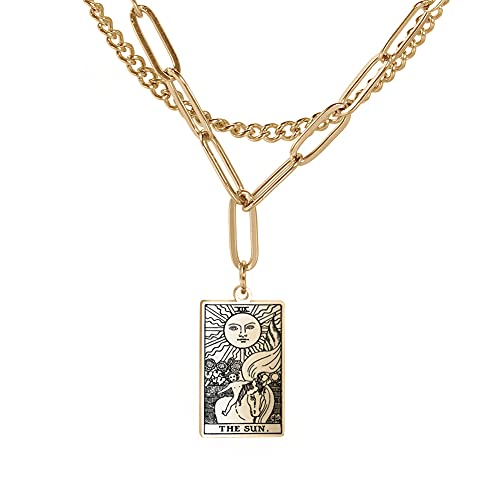 Double Layer Necklace Vintage Rider Waite Tarot Card Jewelry...