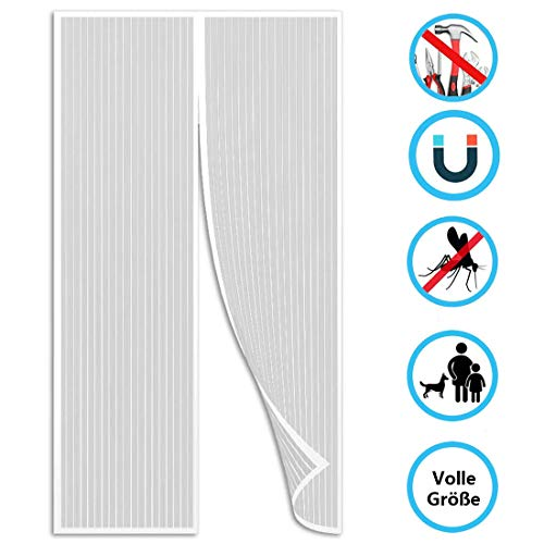 THAIKER Magnetic Fly Insect Screen Door, 90x200cm(35x79inch) with Heavy Duty Mosquito Net with Magnet for Balcony/Patio DoorSize Up to, White A