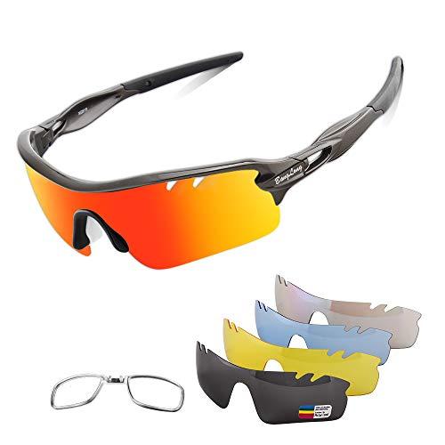 Polarized Sports Sunglasses Cycling Sun Glasses for Men Women with 5 Interchangeable Lenes for Running Baseball Golf Driving (Black+Black)