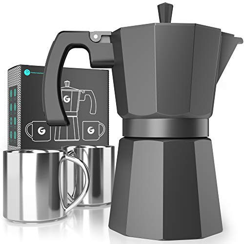 Moka Pot Stovetop Espresso Maker - Coffee Gator, Rapid Stove Top Coffee Brewer - Includes 2 Stainless Steel Vacuum Insulated 3oz Cups - 12oz/6-cup Brewing Capacity
