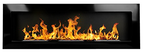 Bio Ethanol Fire BioFire Fireplace Modern 1400 x 400 High Gloss Black XXL