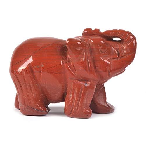 Carved Natural Red Jasper Gemstone Elephant Healing Guardian...