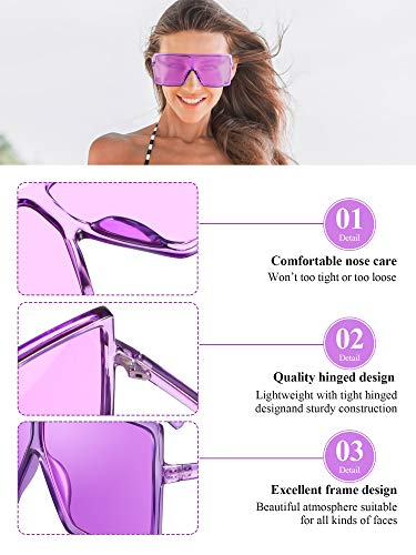 3 Piece Oversized Square Sunglasses Flat Top Fashion Shades Oversize Sunglasses