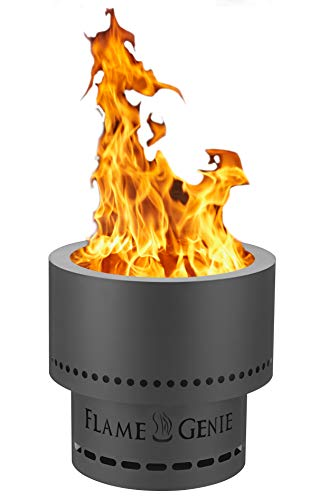 HY-C FG-16 Flame Genie Portable Smoke-Free Wood Pellet Fire Pit, USA Made, 13.5' Diameter, Black