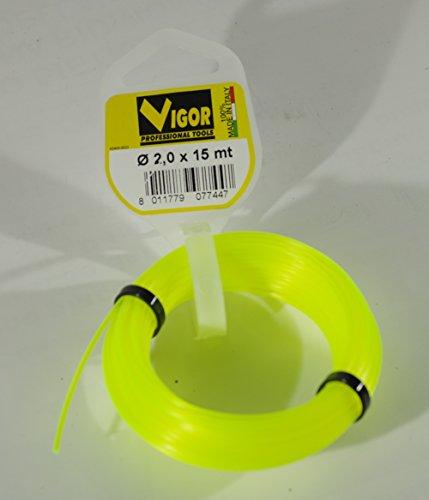 Vigor 4484040 Filo Decespugliatori in nylon giallo fluorescente tondo mt. 15 diametro mm 2