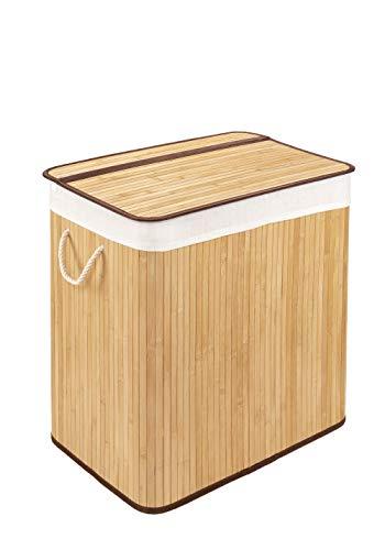 WohnDirect Wäschekorb mit Deckel und Fach • stabile Wäschebox Bambus • Wäschekorb Natur mit Wäschesack, waschbar • 100% Bambus • 72 Liter