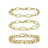 Gold Chain Bracelet Sets for Women Girls 14K Gold Plated Dainty Link Paperclip Choker Bracelet Stack Gold Small Ball Beads Bracelets Adjustable Layered Metal Link Bracelet (Style-4)…