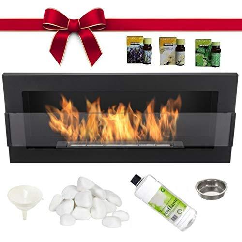 Bioethanol Fireplace 90x40 Black mat + Glass + Gratis