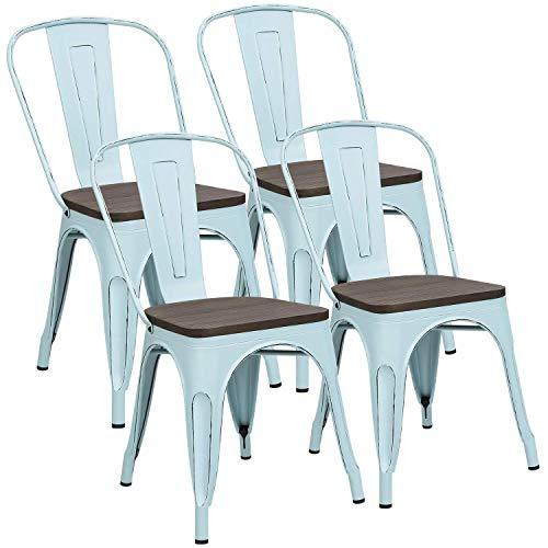 Metal Dining Chairs with Wood Seat, Distressing Tolix Style Indoor-Outdoor Stackable Industrial Chair with Back Set of 4 for Kitchen, Dining Room, Bistro and Cafe (White)