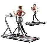 RHYTHM FUN Treadmill 2-in-1 Folding Treadmill Under Desk Walking Treadmill with Foldable Handrail Wide Tread...