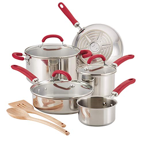 Rachael Ray 70413 Create Delicious Stainless Steel Cookware Set, 10-Piece Pots and Pans Set, Stainless Steel with Red Handles