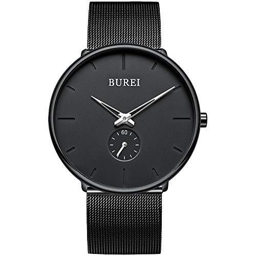 BUREI Uhren Herren Analog Quarz Armbanduhr mit Edelstahlarmband für Herrenuhr Ultradünne Schwarze Uhr Herren Wasserdicht