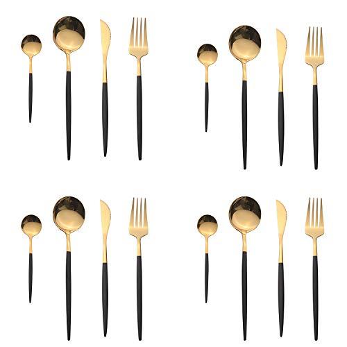OUQIWEN Set di posate,16 pezzi set di posate in acciaio inossidabile nero e oro,set di posate in oro nero,Compreso forchetta / cucchiaio / coltello / cucchiaino,Per 4 persone (oro nero)