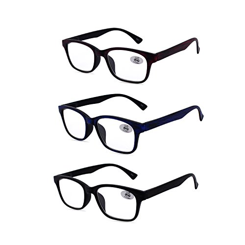 Amillet Reading Glasses 3 Pack for Men and Women,Rectangular Wood-Grain Spring Hinges Frame,3 Colors with Gift Packing,Glasses for Reading +2.50