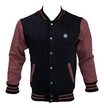 Coton Coupe Mens Baseball Varsity Jacket (M, Black/Burgundy Marl)