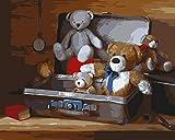 Pintar Por Numeros Adultos Niños Para Diy Pintura Por Números Con Pinceles Y Pinturas Decoraciones Para El Hogar-Maleta De Oso-40x50cm con marco