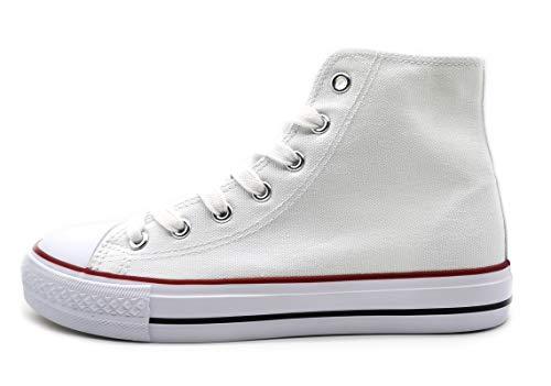 P&L Zapatillas Altas de Lona Mujer Botin Blancas Negras Basket Autoclave Blanco 39