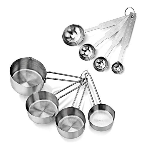INKULTURE Stainless Steel Measuring Cups & Spoon Combo for Dry or Liquid/Kitchen Gadgets for Cooking...