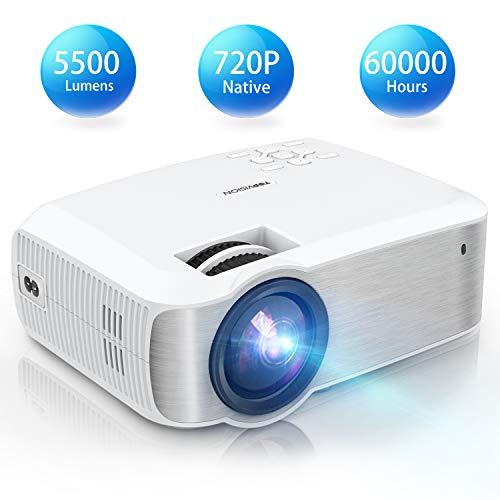 TOPVISION Mini Beamer, Native 720P Heimkino Beamer Unterstützt 1080P Full HD, 5500 Lumen Video Beamer mit 240\'\' Display, 60000 Stunden LED Projektor Kompatibel mit HDMI/USB/SD/AV/VGA