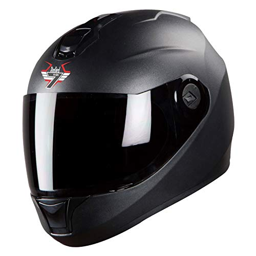 Steelbird SBH-11 7Wings Full Face Helmet (Medium 580 MM, Matt Black Helmet Fitted with Clear Visor and Extra Smoke Visor)