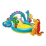 Intex-57135NP Centre de jeu aquatique gonflable Dinoland Play Center, Modèle Assorti (avec et sans volcan), Multicolore, 333x229x112 cm, 280 litres