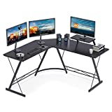 Coleshome L Shaped Desk, 51' Home Office Corner Desk with Shelf, Gaming Computer Desk with Monitor...