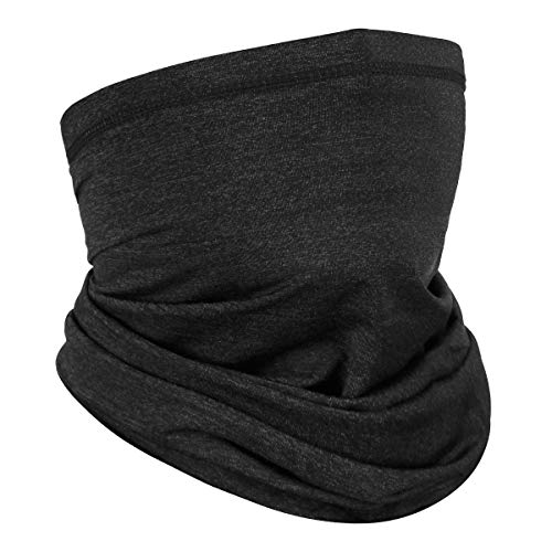 Achiou Neck Gaiter Face Mask Scarf Dust Sun Protection Cool Lightweight Windproof, Breathable Fishing Hiking Running Cycling Heather Black