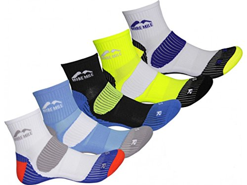 More Mile Mens Limited Edition 5 Pair Pack London Running Socks, Mixed, 5-8 shoe