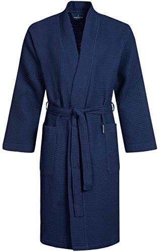 Morgenstern Waffelpique Bademantel Herren Morgenmantel Blau leicht Männer Duschmantel Kimono Reisebademantel Dunkelblau Baumwolle dünn kurz Größe XL