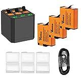 Vemico Chargeur de batterie de rechange 3 x 1500 mAh pour batteries...