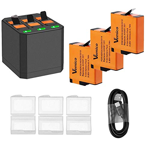 Vemico Hero 5 Caricabatterie 3 x1500mAh Batterie sostitutive e 3 canali LED Tipo-C USB Caricatore per GoPro Hero 7/Hero 6/Hero 5/2018/AHDBT-501