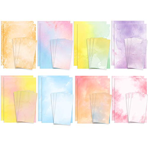 Stationary Paper and Envelopes Set 48 Pack of Watercolor Letter Writing Paper, Decorative Printer Stationery Sheets Set with Assorted Designs - Double-sided Printing - 8.5 x 11 Inch