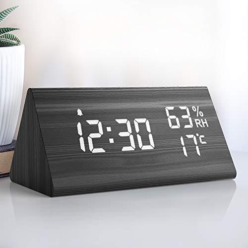 NBPOWER Wecker Digital LED Digitale Uhr Holz,Digitalwecker Tischuhr mit Sprachsteuerung/Snooze/Datum/Temperatur und Luftfeuchtigkeit, für Nachttisch, Schlafzimmer, Nacht Kinder und Büro -Schwarz