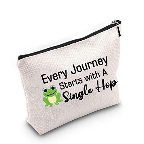 Every Journey Starts with A Single Hop Maquillaje Bag Regalos Amante de Rana Cotización Viaje Regalo Motivacional Graduación Regalo Estudiante