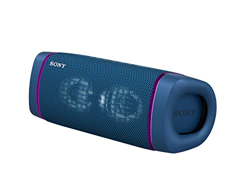 Sony SRS-XB33 Wireless Extra Bass Bluetooth Speaker with 24 hrs Battery, Party Lights, Party Connect, Waterproof IPX67, Dustproof, Rustproof, Speaker with Mic, Loud Audio for Phone Calls/WFH (Blue)