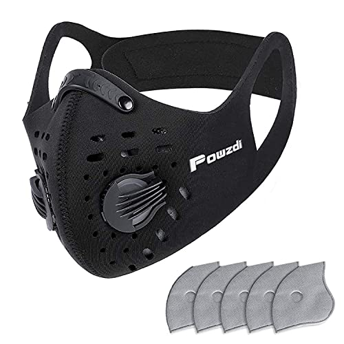 Powzdi Dustproof Sports Mask Anti-Pollution Mask with 5 Activated Carbon Filters and 2 Valves Dustproof Face Mask for Motorcycling Woodworking Cycling Running Bicycle Outdoor Activities
