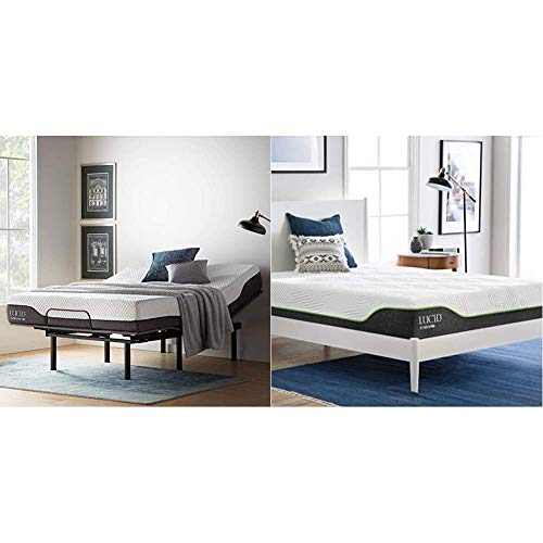 LUCID L150 Bed Base – Upholstered Frame, Queen, Charcoal Adjustable & 10 Inch Queen Latex Hybrid Mattress - Cooling Gel Memory Foam - Responsive Latex Layer - Adaptable - Durable Steel Coils