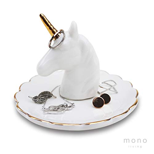 mono living Unicorn Jewelry Dish Ring Holder Tower Earring Tray Ceramic Organizer Necklace Bracelet Birthday Housewarming Easter Day Gift for Her Girlfriend Teen Girl Aunt Women