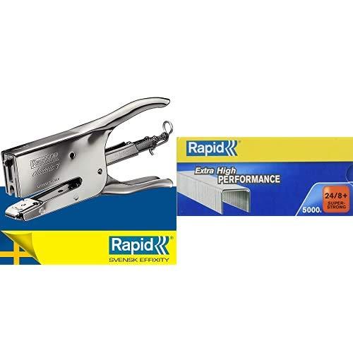 Rapid Classic K1 Cucitrice a Pinza , Compatibile con i Punti Metallici 24/6 e 24/8 mm, Capacit 50 Fogli, Metallo, Cromo, 10510601 + RAPID Punti metallici Super Strong 24/8+ - 24860100