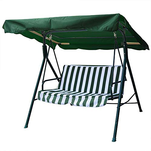 legendary-Yes 76x44 Inch Deluxe Outdoor Swing Chair Canopy Replacement UV30+ 180gsm Porch Swing Top Cover for Patio Swing Yard Seat Cushion Green