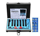 Accusize Industrial Tools 7 Pieces/Set 1/2'' Indexable Carbide Turning Tool Set with 10 Extra Carbide Inserts in Fitted Box, 2387-2004plus