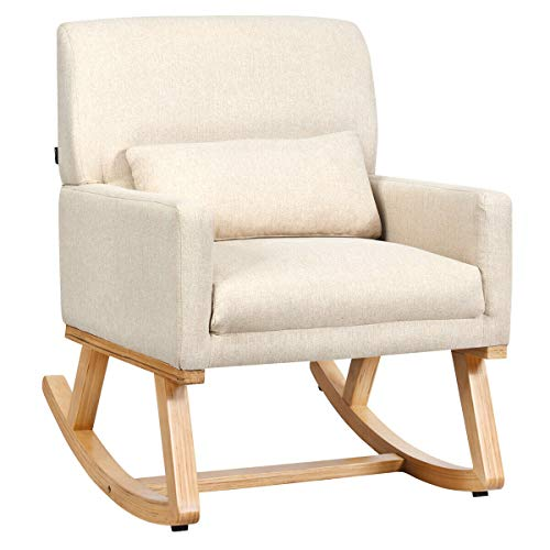 Giantex Upholstered Rocking Chair with Lumbar Support, Fabric Padded Seat and Solid Wood Base, Comfortable Rocker for Living Room, Bedroom, Study Room, Office Rocking Armchair (Beige)