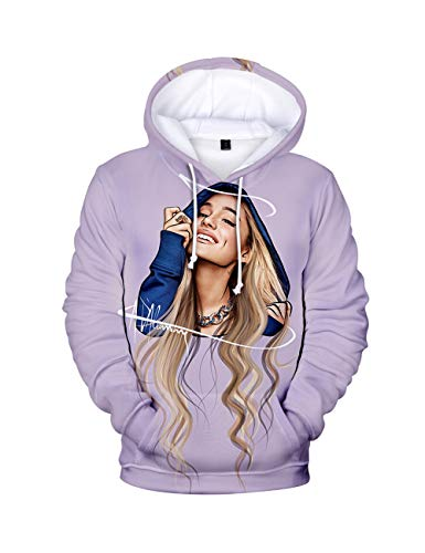 3D Print Trend Singer Ariana Grande Hoodie for Women,Ariana Grande Thank you, Next Sweatshirt Pullover Hoodie Solid Color Long Sleeve for Girl Woman (BA06-C,M)
