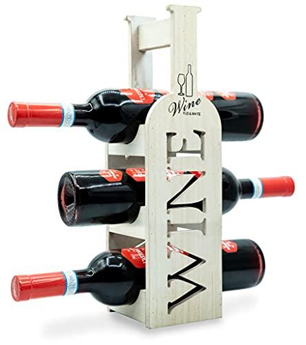 Torre Portabottiglie Vino in Bamb - Cantinetta per esposizione di 3 Bottiglie classiche di Vino - dal Design Esclusivo e Minimal - Ottima Idea Regalo - Pensato per tutti gli Ambienti