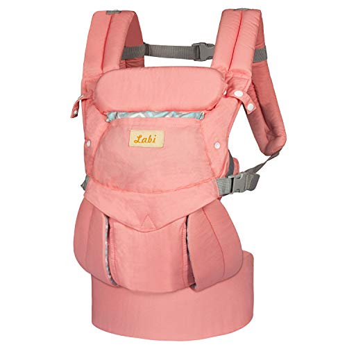Labi Premium Cotton Baby Carrier with Adjustable Bucket Seat, Ergonomic All Position Baby Backpack with Tuck Away Hood, One of The Most Comfortable Baby Carrier Wrap for Infant & Toddler