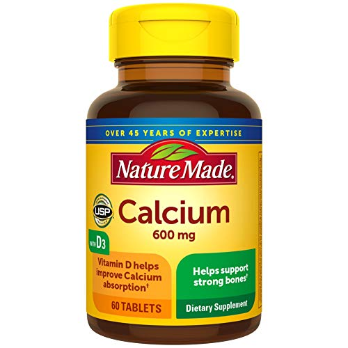 Nature Made Calcium 600 mg Tablets with Vitamin D, 60 Count for Bone Health (Pack of 3)