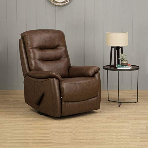 Home Centre Panama Half Leather Recliner-1 Seater (Brown)