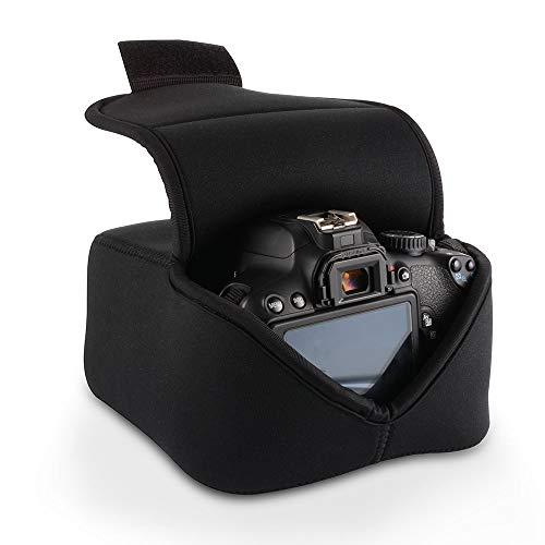 Funda para Cámara DSLR Estuche Protectora Equipo Cámara Digital Bolsa de Almacenamiento con Protección de Neopreno (Negro) para Nikon, Canon, Olympus, Panasonic, Pentax, Samsung, Sony y más.