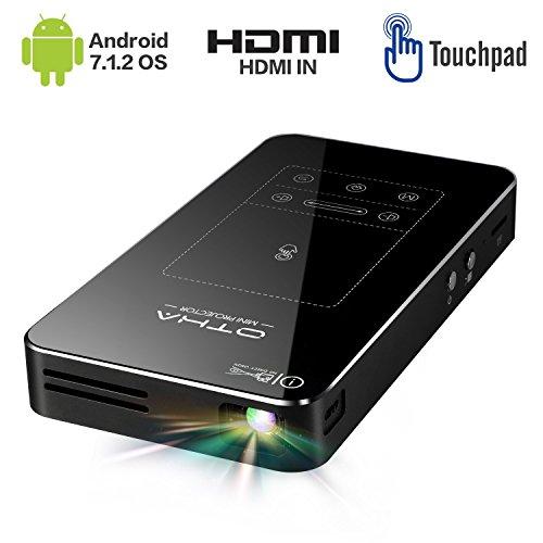 Mini Beamer,Android 7.1 Tragbarer DLP Projektor mit Touchpad Auto Keystone-Korrektur HDMI Wireless Home Theater Projektoren