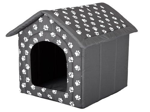Hobbydog, Cuccia per Cani, Taglia L, Grigia, Motivo con Impronte di Zampe